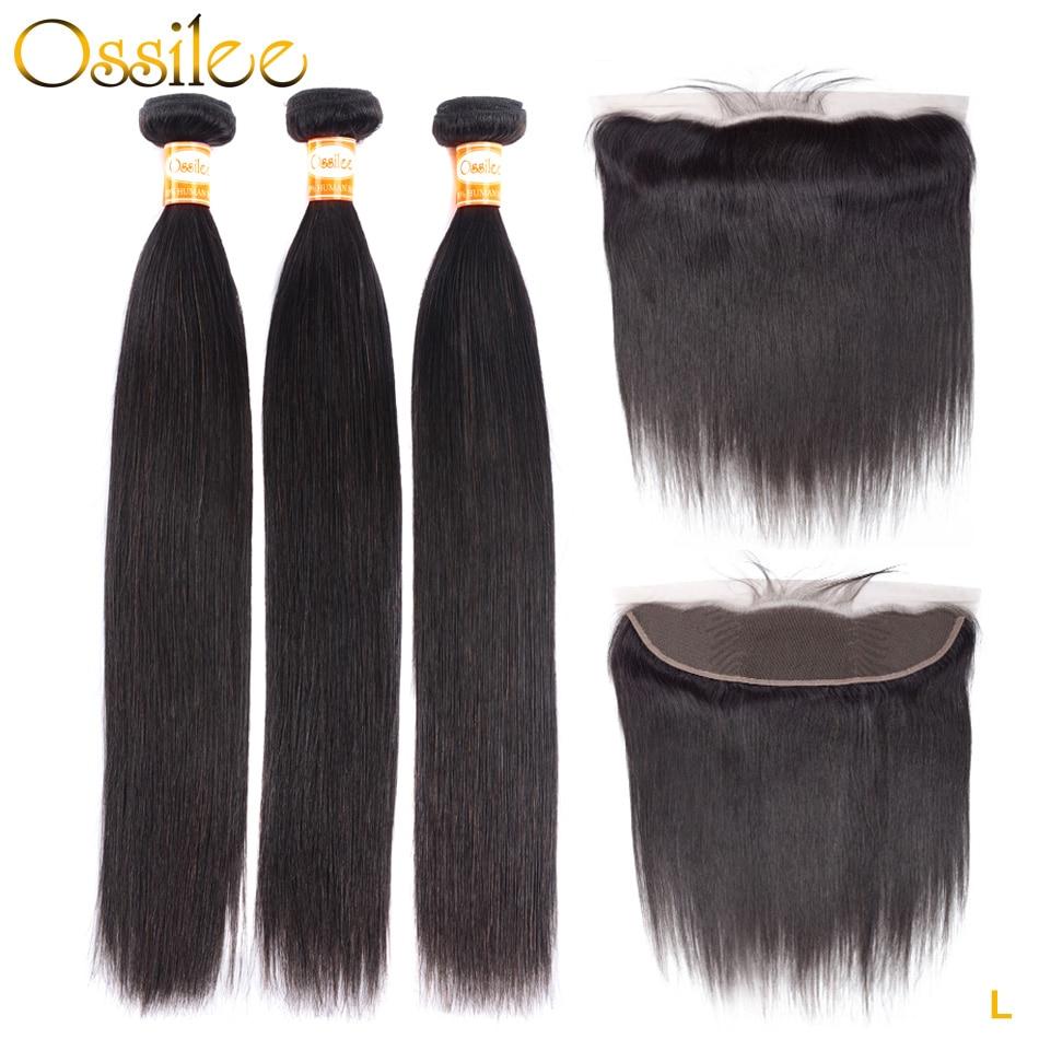 Ossilee Straight Human Hair Bundles With Frontal Closure Brazilian Hair Weave Bundles Low Ratio Remy Hair Bundles Wtih Closure