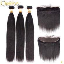 Tissage en lot brésilien Remy avec Frontal Closure – Ossilee, cheveux naturels lisses, faible Ratio
