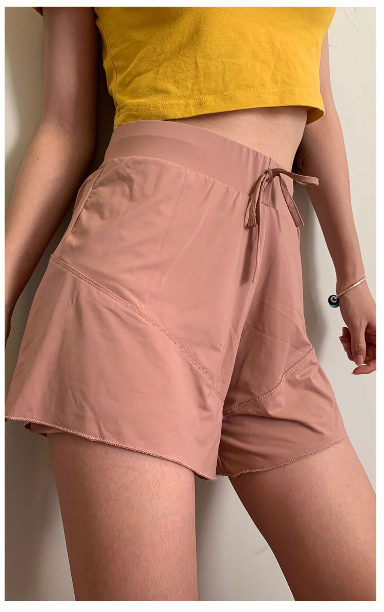 2020 Women's Plus Size Sports Shorts Double-layer Anti-light Sweat-absorbent Breathable High Elastic