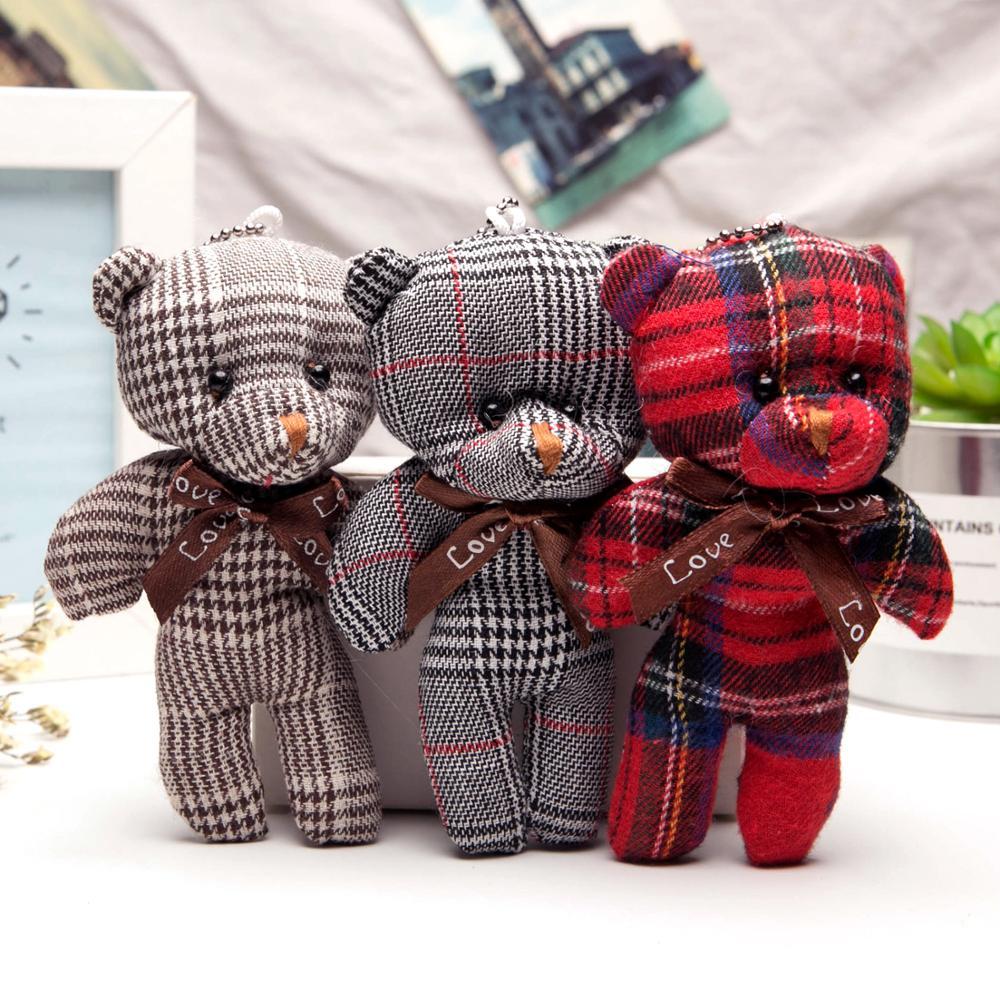 10pcs 13cm 8CM Teddy Bear Cute Plush Toys Bag Keychain Car Key Holder For Pendant Doll Kids Toys Stuffed Animals Fluffy Bear Toy
