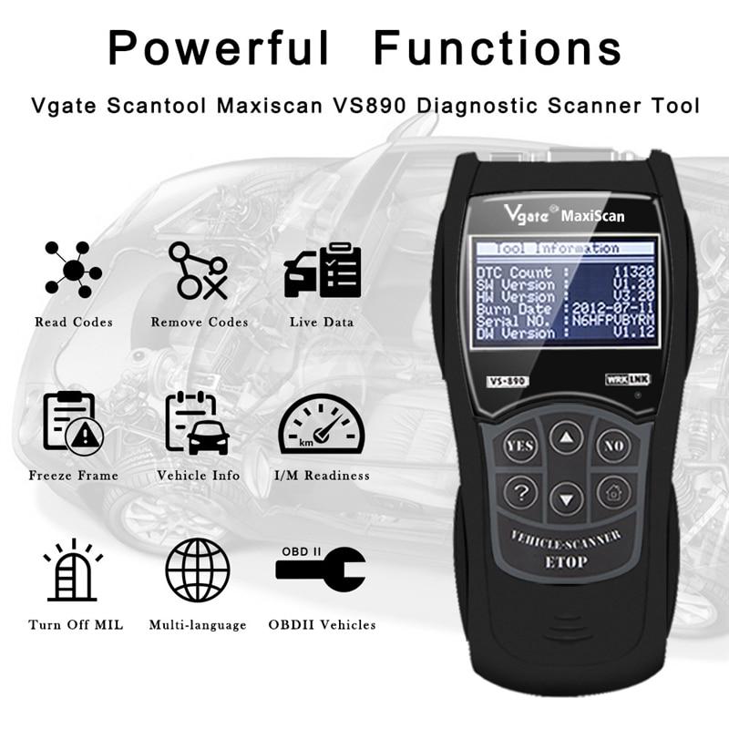 Vgate Scanner vs890 vgate maxiscan outil de Scanner de Diagnostic automatique universel OBD2 lecteur de Code Supports13 langues vgate vs890
