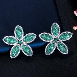 Image 3 - CWWZircons Chic Micro Pave Cubic Zirconia Dark Blue Big Flower Leaf Earrings Luxury Fashion Women Party Wedding Jewelry CZ662