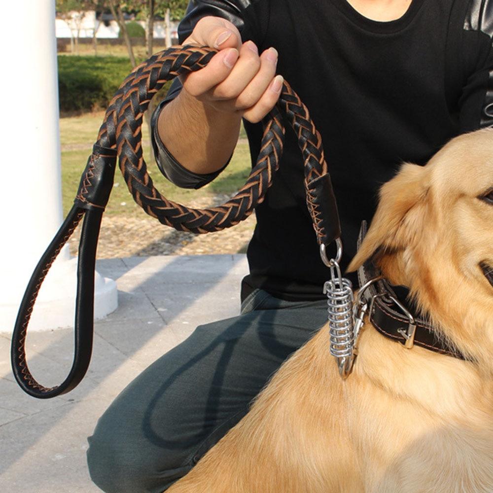 Heavy and Duty Large Dog Leash Genuine Leather Braided Dog Training Leash for Shepherd Bulldog Labrador Gold Retriever Pet Leads 1
