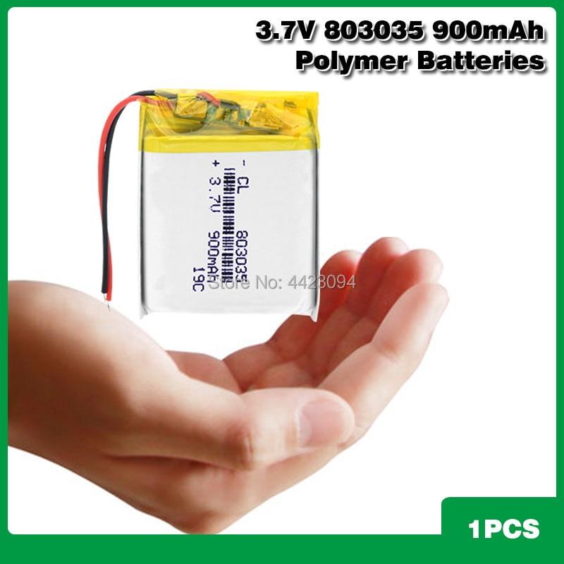 Bateria litowo-polimerowa 900mah 3.7 V 803035 inteligentne domowe głośniki MP3 akumulator litowo-jonowy do dvr,GPS,mp3,mp4,mp5 power bank, głośnik
