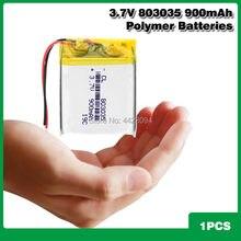 Bateria esperta do li-íon dos oradores mp3 da casa 900mah 3.7 v 803035 do lítio do polímero para dvr, gps, mp3,mp4, banco de potência mp5, orador