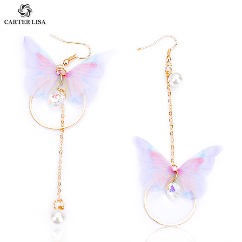 CARTER LISA Fashion Elegant Gold Long Chain Circle Translucent Butterfly Threader Drop Dangle Earrings For Women Girl Brincos