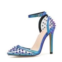 DiJiGirls Novel Stud Blue High Sandals Cover Toe Clear High Heels Women's Pumps Strappy Shoes Party Banquet Dance Rivet Shoes