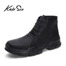 영국 스타일 빈티지 남자 부츠 미친 정품 가죽 야외 남자 가을 부츠 방수 작업 하이킹 겨울 발목 부츠 신발