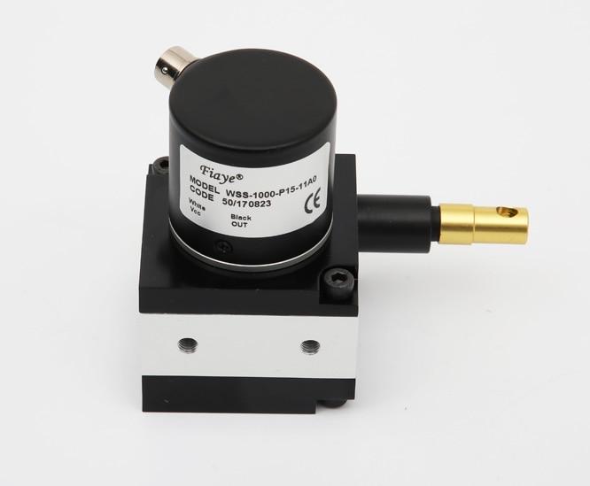 Pull Rope Displacement Sensor Cable Sensor Metal Case Current Voltage WFS Series Range 0-500mm Black