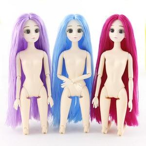 Image 4 - Bjd בובת 1/6 30cm 3D עיני ארוך שיער 20 מפרקי מטלטלין להתלבש פלסטיק עירום גוף אופנה תינוק בובה צעצועי בנות חג המולד מתנה