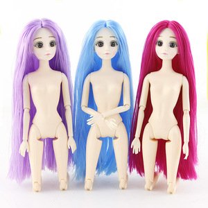 Image 4 - Bjd Doll 1/6 30cm 3D Eyes Long Hair 20 Movable Joints Dress Up Plastic Nude Body Fashion Baby Doll Toys for Girls Christmas Gift