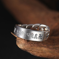 925 sterling silver fashion jewelry men and women personality six word mantra chain ring retro Thai silver beautiful ring