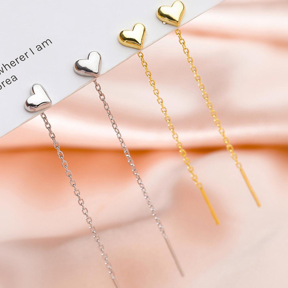Модные простые милые серьги в форме сердца серебряного цвета, Длинные дизайнерские темпераментные геометрические золотые Висячие серьги, ...