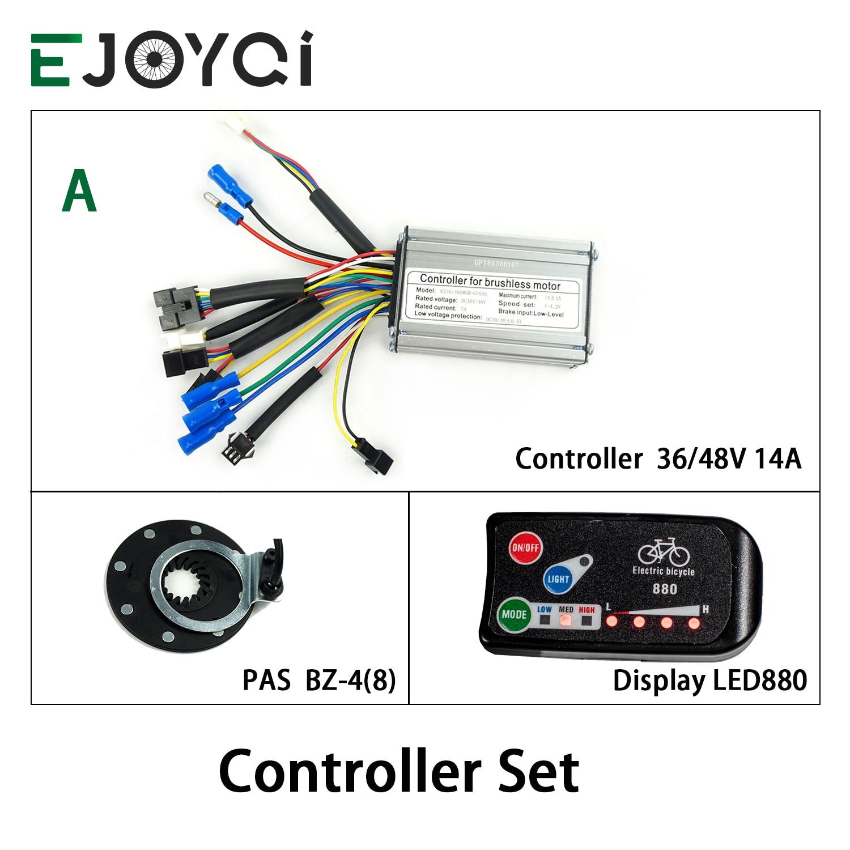 EJOYQI 36V48V 14A 250W 350W contrôleur LED880 affichage mètre PAS ensemble Kit de Conversion e-bike double Mode capteur Hall