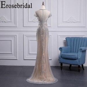 Image 2 - Erosebridal luksusowa suknia wieczorowa długa 2020 zroszony syrenka formalna sukienka dla kobiet Sexy Illusion ciało suknia wieczorowa Zipper powrót