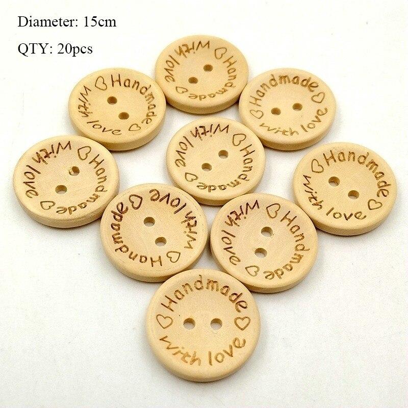 20 шт деревянные пуговицы для рукоделия, аксессуары для скрапбукинга, декорации, botones de madera para manualidades - Цвет: K08