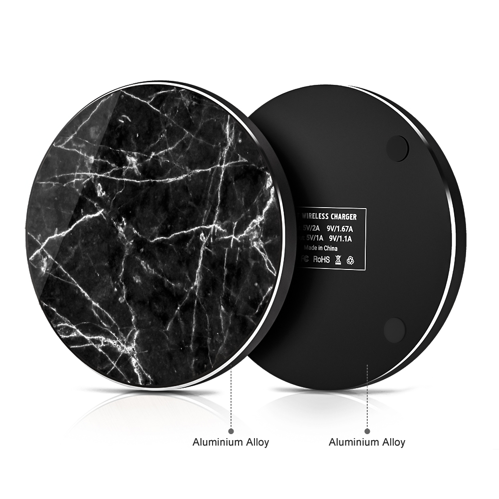 Wireless Charger Aluminum Marble 10W Fast Mobile Phone Charger For Iphone 6 7 8 11 Pro Max Huawei 20 30 Pro Samsung S9 S10 1pc