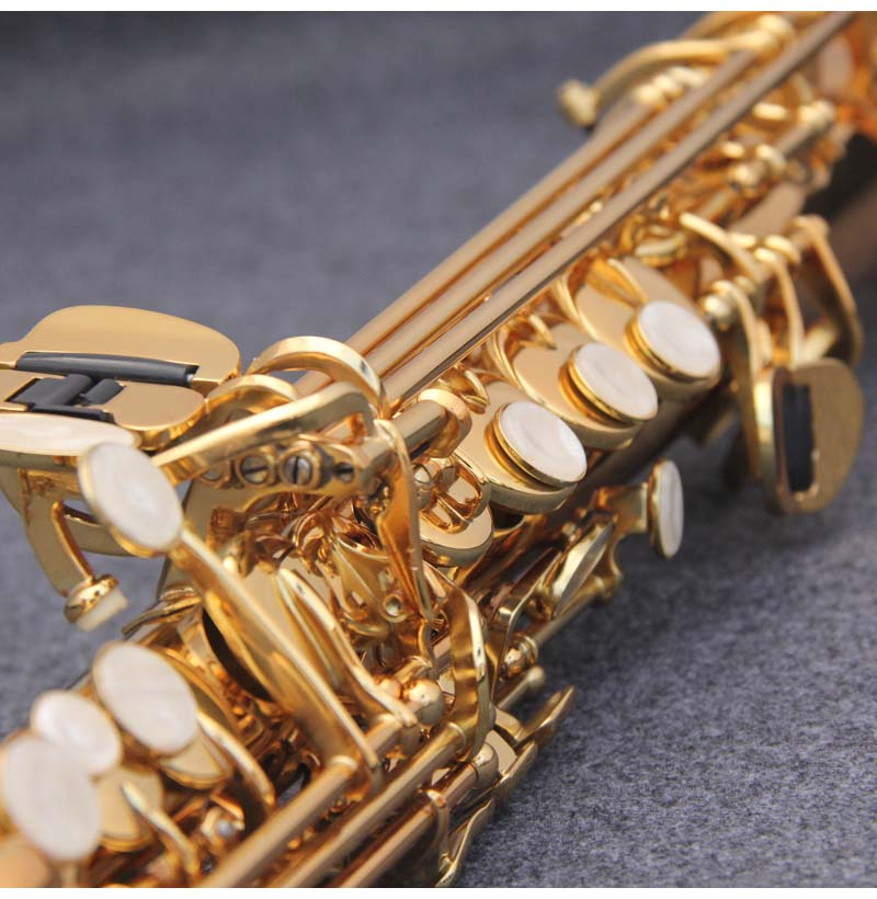 JM Сделано в Японии YSS 82Z Латунь Прямой сопрано саксофон Bb B плоский духовой инструмент натуральный корпус ключ вырезанный узор - 5