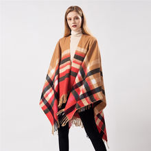 Frauen Capes 2020 Poncho Mantel Schal Plaid Quaste Warme Schal Mantel Koreanische Lange Poncho Gestrickte Schal Winter Luxus Wolle Strickjacke(China)