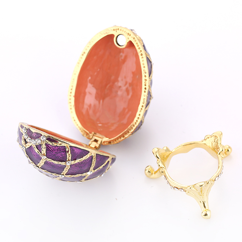 Retro Violet Egg Shape Enamel Jewelry Box Ring Holder Gold Diamond Pattern