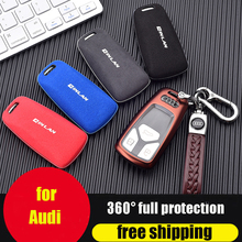 ZOBIG for Audi Key Fob Cover case Turn fur Case Protector Compatible with A4 Q7 Q5 TT A3 A6 SQ5 R8 S5 Smart