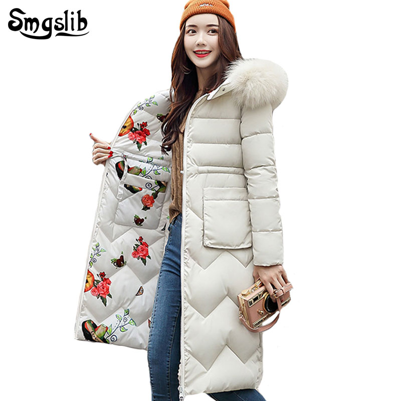 2019 Women Winter Jacket Both Two Sides Can Be Wore New Arrival With Fur Hooded Long Coat Cotton Padded Warm   Parka   Womens   Parkas