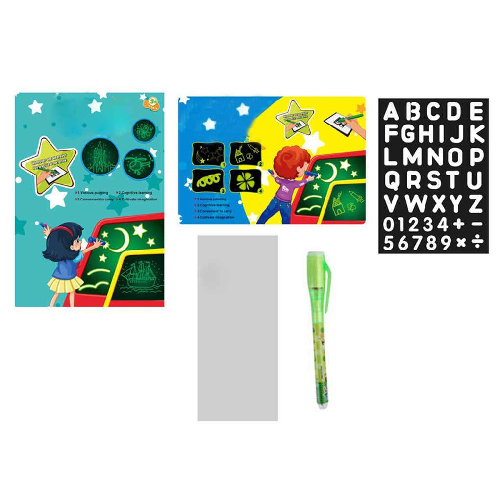 Di Marca di Nuovo Disegno Della Luce Pad Bambini Luminescenti Tavolo da Disegno Raggiante Magia Graffiti Pittura Scrittura Giocattolo Educativo di Colore Casuale