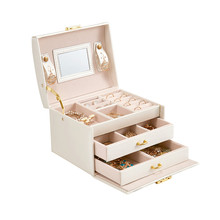 Caixa de joias de couro estilo princesa, caixa de cosméticos para presente de aniversário e casamento