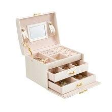 Pudełko z biżuterią w stylu księżniczki skórzane pudełko z biżuterią pudełko na kosmetyki pudełko na biżuterię ekskluzywny Organizer biżuterii prezent urodzinowy prezent ślubny