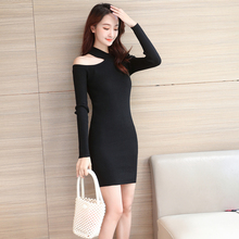 2019 New Dresses Autumn Winter Sexy Off-The-Shoulder Knit Dress Slim Hip Fashion Long Women