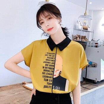 Women shirt Alphabet Printed Girl Chiffon Shirt 2019 Summer Short Sleeve Satin Blouses Tops satin silk blouse 81A7