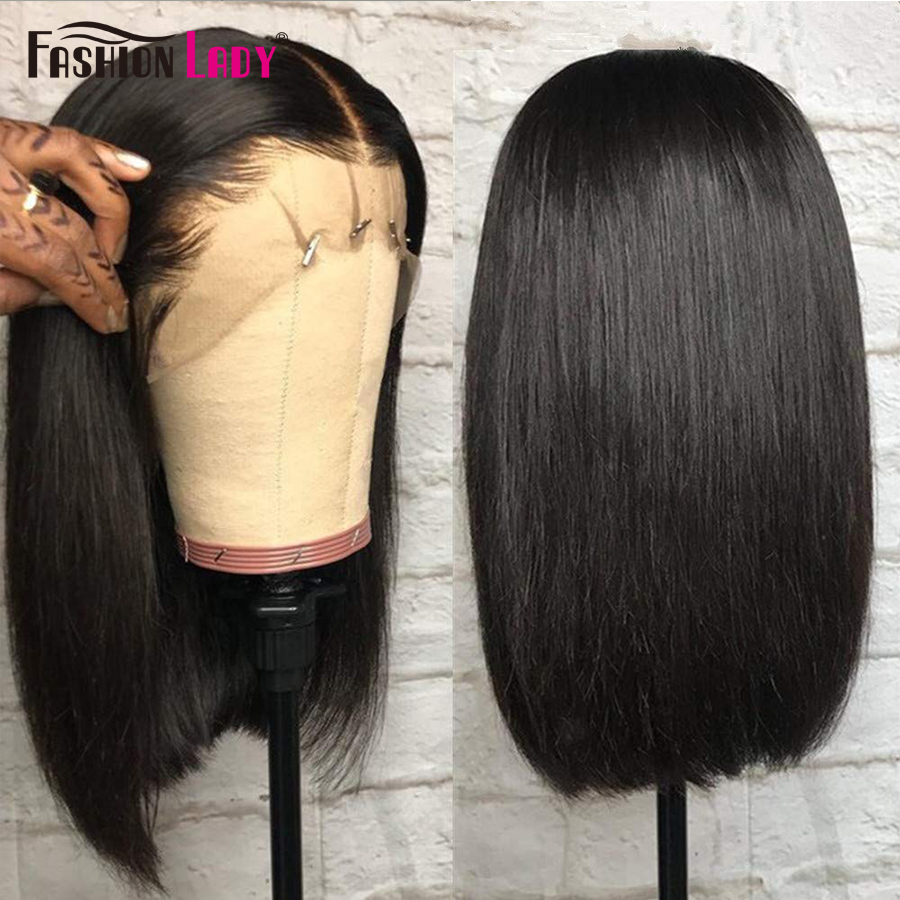 Fashion Lady 13x4 Bob Wigs Indian Lace Frontal Human Hair Wigs For Black Women 150% Densty Remy Straight Short Lace Front Wigs