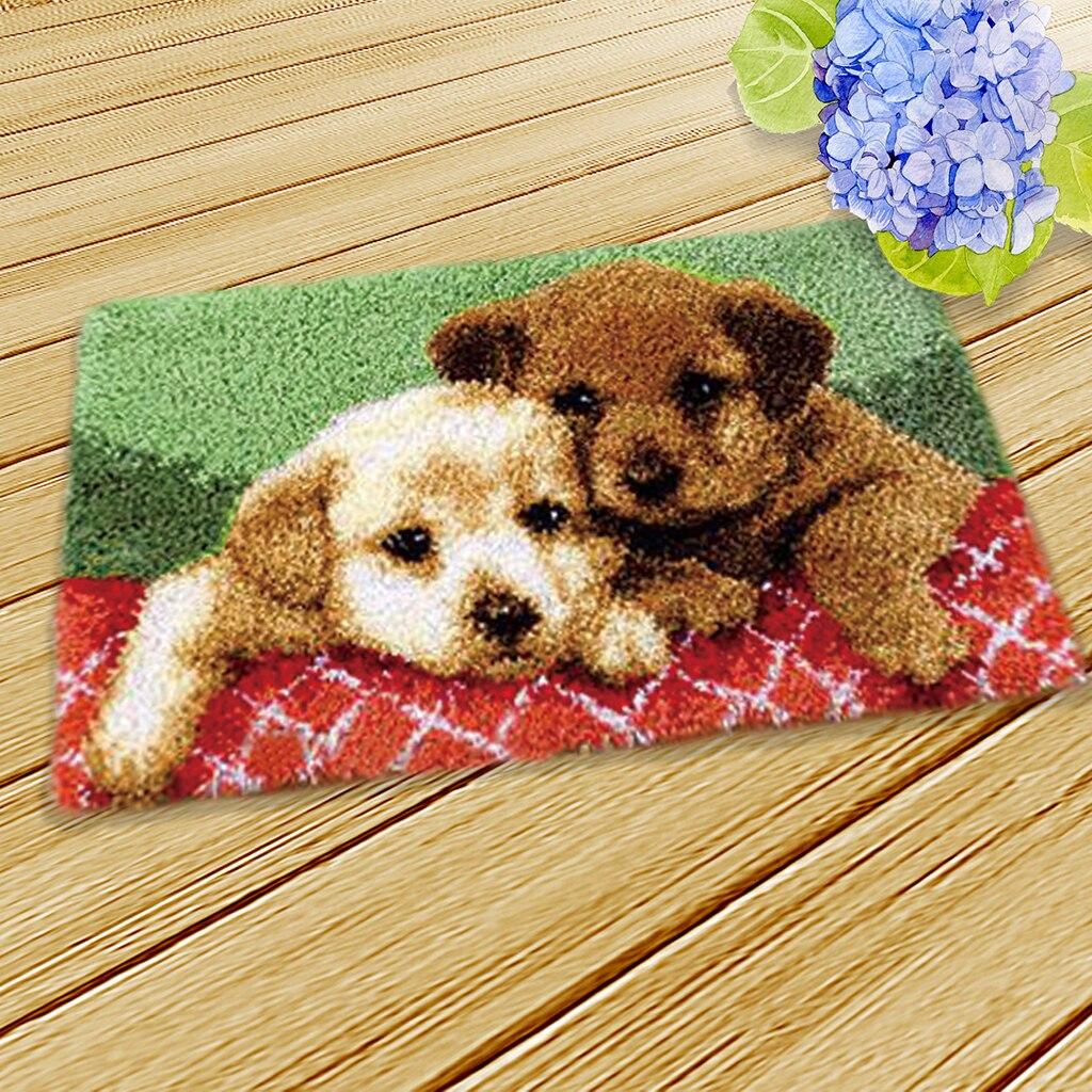 US Latch Hook Rug Kit Puppy Dog Carpet Mat Cross Stitch DIY Home Decor 36x50cm.