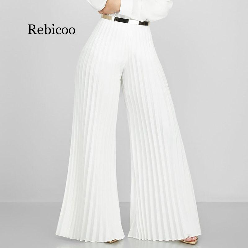 Office Lady Pleated Wide Leg Pants Women Autumn Work Business Elegant Long Trousers Female Loose High Waisted  Pants