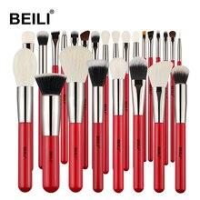 BEILI 프로페셔널 레드 25pcs 메이크업 브러쉬 세트 파우더 파운데이션 천연 염소 포니 헤어 아이 블렌딩 섀도우 메이크업 브러쉬 도구