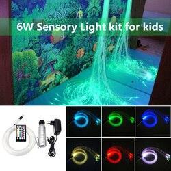 Kit de luz sensorial de fibra óptica RGB de 6W, 200 Uds. * 0,75mm * 2M, cortina con punto de inflamación, iluminación en cascada, juguete para niños, luz sensorial para el hogar