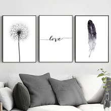 Wall Art Canvas Painting Black and White Dandelion Feathers Poster and Print Letter Love Home Decor Living Room Pictures
