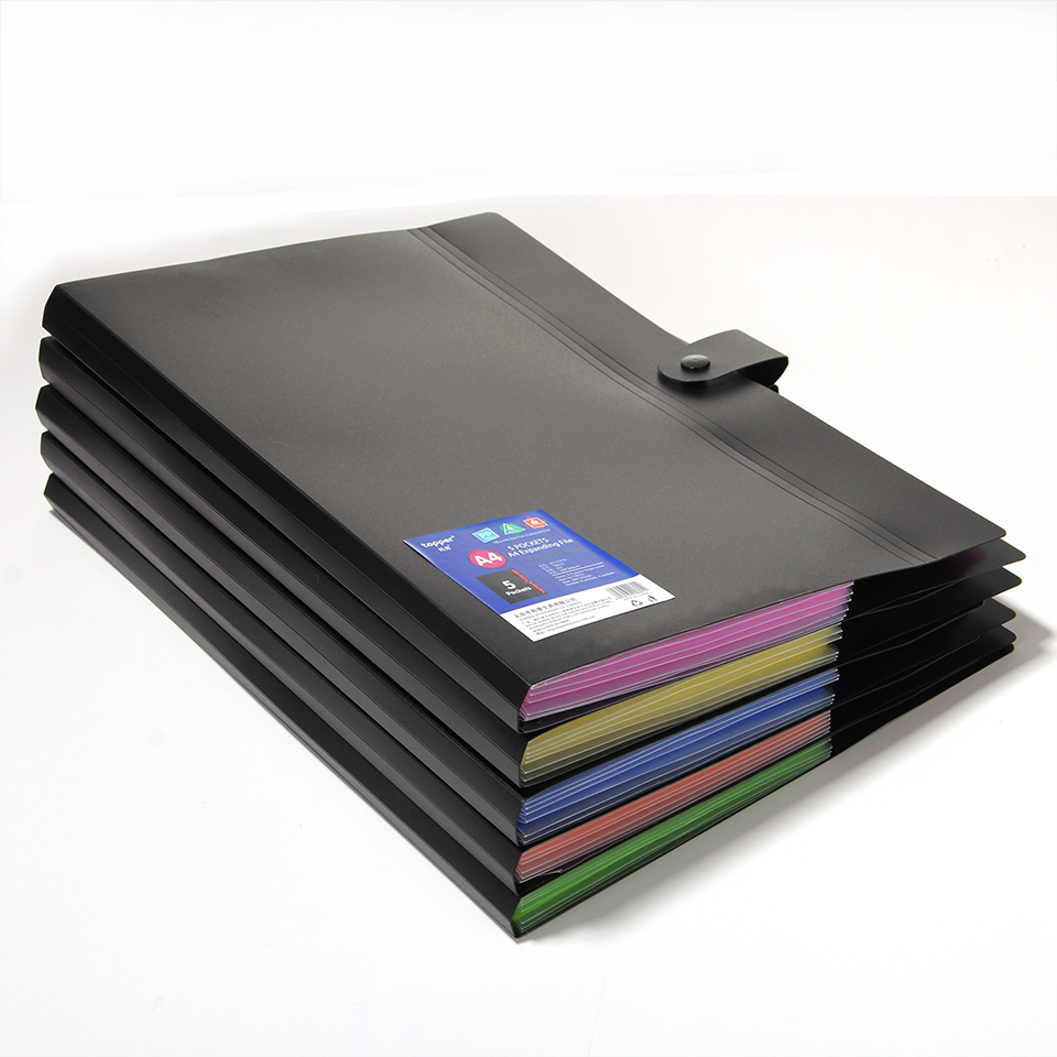 A4 10 Color Waterproof  PP File Folder Document Bag Pouch Bill Folder Holder Organizer Clip File Document Folder Multiple Colour
