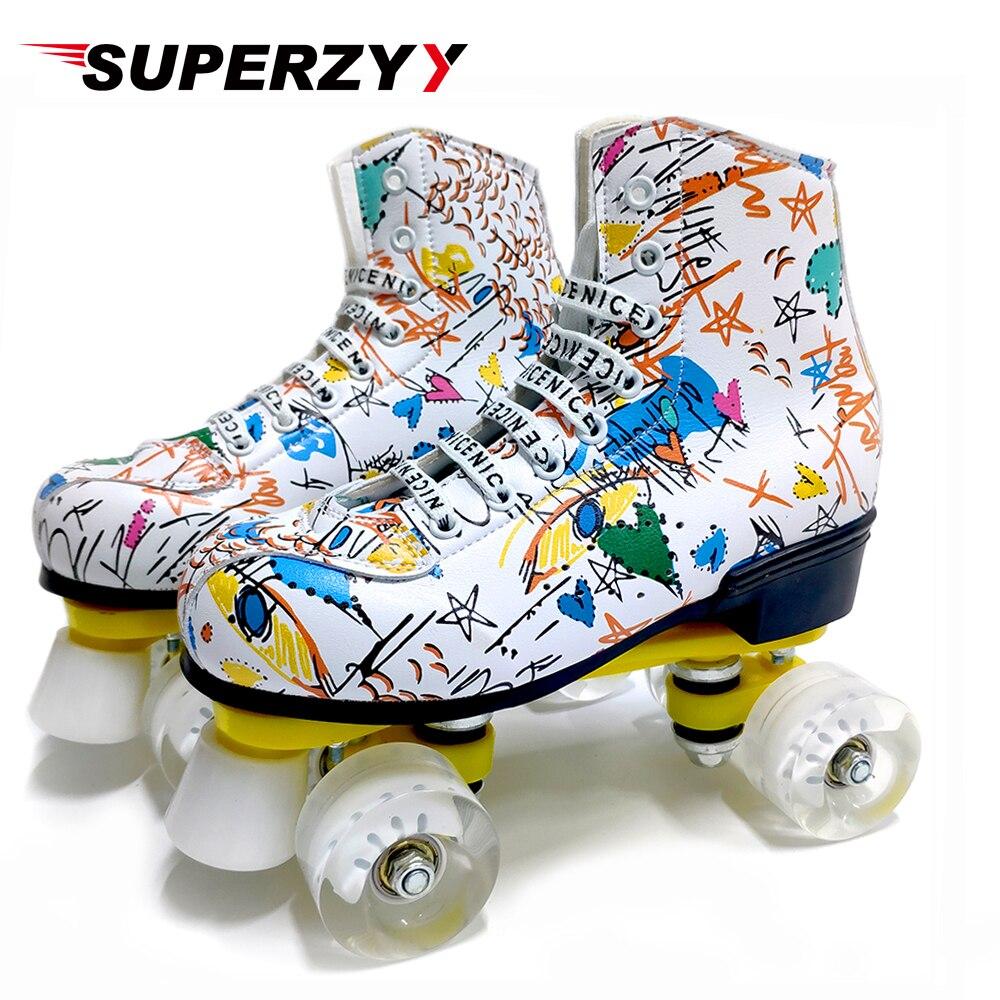 Graffiti microfibre patins à roulettes Double ligne patins femmes hommes adulte deux lignes chaussures de patinage avec blanc PU 4 roues entraînement - 4