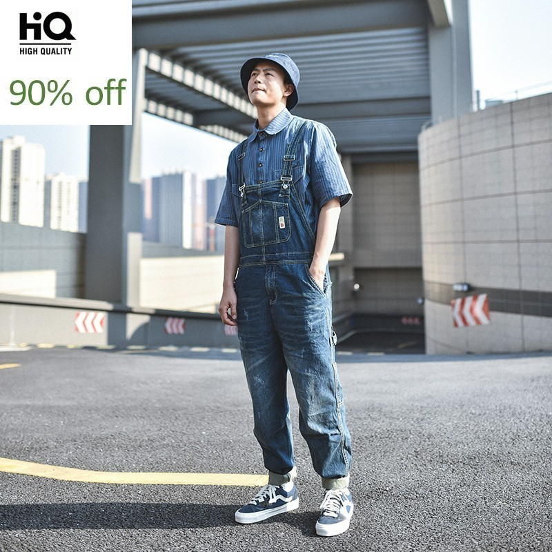 Fashion Mens Suspender Denim Overalls Vintage Safari Casual Hip Hop Loose Fit Cargo Pants Autumn Streetwear Long Jeans Rompers