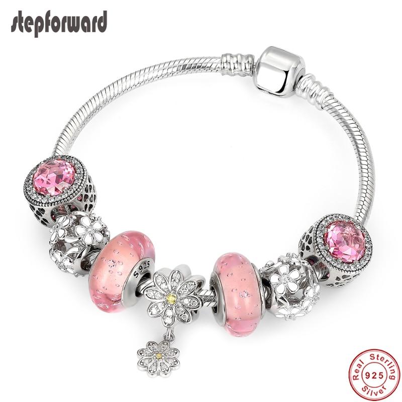 Bracelet Original en cristal rose femme, Bracelet Original en argent Sterling 100%