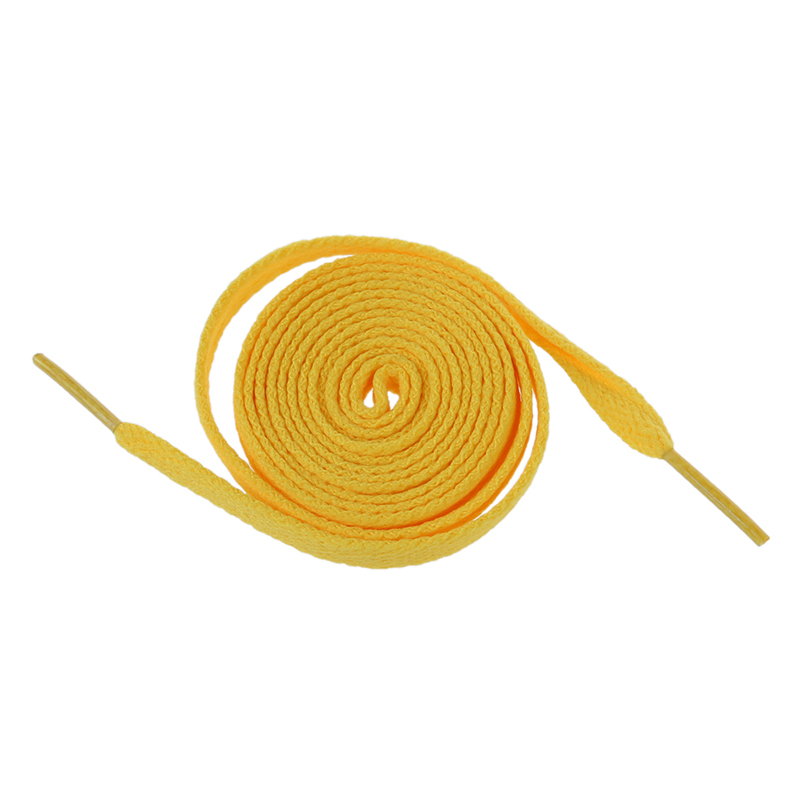 Pair Yellow Flat Strings Wide Shoelaces For Sports Shoes