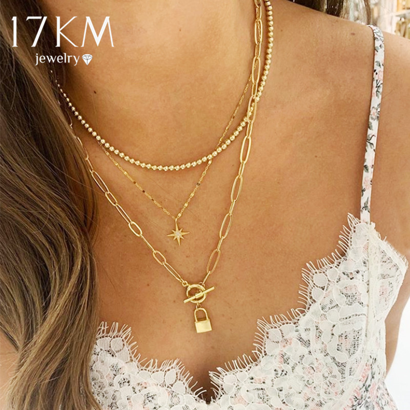 17KM New Fashion Beads lock Necklace For Women Gold Color Bohemian Stars Pendants Necklaces Female Bijoux Jewelry Gift
