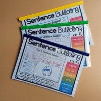 Alfabeto frase construção jogo de sala de aula workbook ensinar ler livros brinquedo educativo para crianças aprender inglês livros para crianças