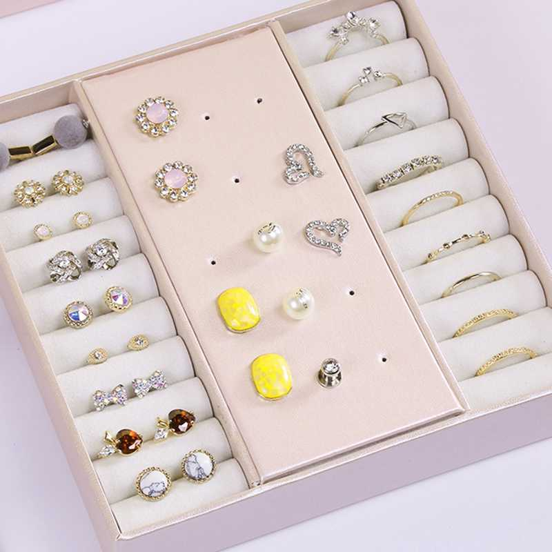 Casegrace المحمولة السفر صندوق مجوهرات منظم الجلود والمجوهرات زخرفة صندوق تخزين
