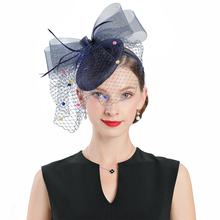 Royal Banquet Wedding Church Fedoras Hats Women Elegant Kentucky Derby Hat Blue Fascinator Bow With Veil Tea Party Linen Cap