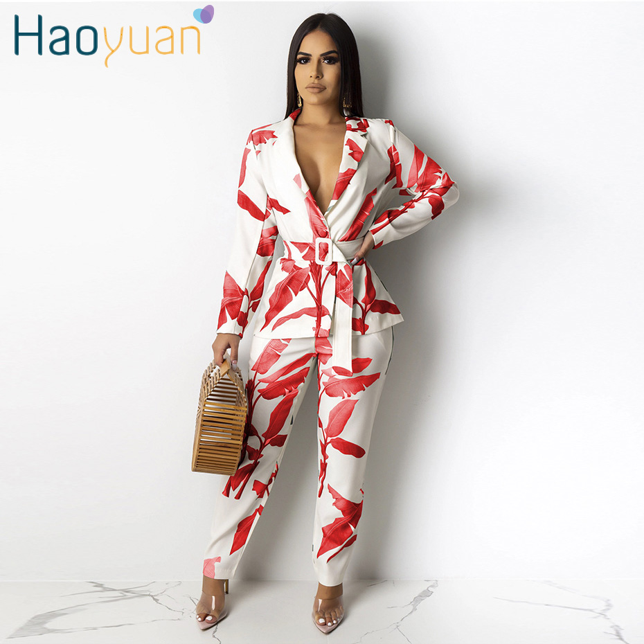 HAOYUAN Leaves Print Two Piece Set Long Sleeve Blazer Top And Pant Suits Office Lady Festival Clothing 2 Piece Outfits For Women