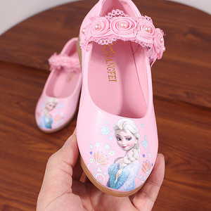 Disney Princess Girls Shoes For Kids Fashion Elsa Anna Kids Shoes Ice Snow Queen Casual Children Shoe Girl Sneakers white flat