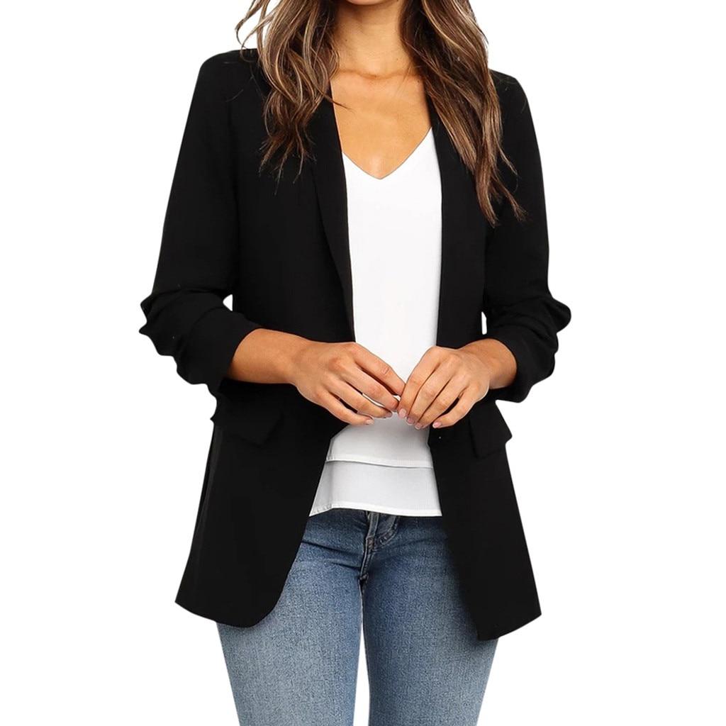 Ladies Blazer Long Sleeve Solid Women Suit jacket Female Blazer Black With Pocket Autumn Clothing   #Zer
