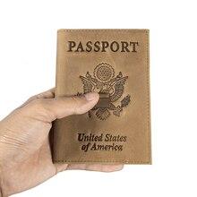 Американский герб RFID блокирующий чехол из натуральной кожи для паспорта, дорожный кошелек, Прямая поставка 599-40